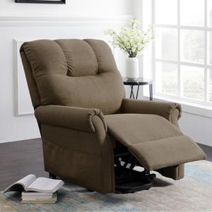 US STOCK Brown elétrica Elevador Reclining Chair tecido confortável ajustável Poder Cadeira reclinável sofá-Início Lounge Chair W22318489