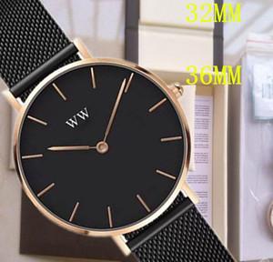 202 Top Fashion WW Daniel Mujeres 32mm 36mm Hombres Wellington's Fashion DW Amantes Mujeres Malla de acero Relojes para hombre Montre Montre Femme Relojes