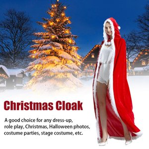 Women Hooded Cape Dressup Performance Santa Claus Red Adult Shawl Christmas Cloak Solid Stage Costume Loose Party Cosplay