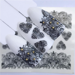 FWC Lace Floral Flower Nail Sticker Decal Water Transfer White Black Tips Women Makeup Tattoos 2020 Summer New Design