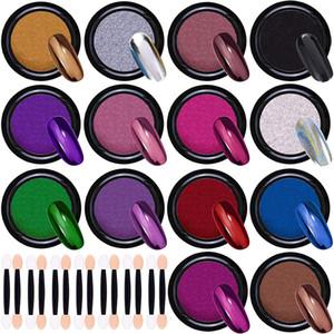 14 Color Configurar la solidez del color de clavo de titanio en polvo entera en polvo Glitters Holo láser espejo mágico Pigmento Cromo Polvo de manicura Decoración