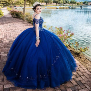 Royal Blue Beads Crystal Quinceanera Dresses Puffy Skirt Plus Size Prom Party Gowns Vestidos Para XV Años Sweet 16 Dress robe de soirée
