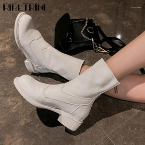 Ribetrini Soft Pleated High Top Top Toble Shoes Classic Genuine Cuero Mujer botas de tacón bajo Boots1