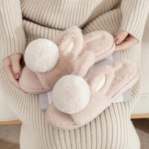 House Cute Fur Slippers For Girls Warm Plush Cute Rabbit Cartoon Bedroom Slip-on Flat Shoes Indoor Pink Women Fuzzy Slippers #xw3P