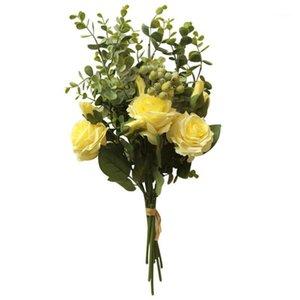 Sous Style Eucalyptus Rose Bouquet Artificial Flower Gamme Rose Hydrangea Flowers Bouquet Bunch Home Mariage Partie de mariage Décor # 4m1