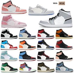 2021 Männer Frauen Furchtloser Rosa Chicago Obsidian Mokka Satin Digital Retro Schuhe 1 1S Mens Jumpman \ rbasketball Court 36-46 T1 # DH