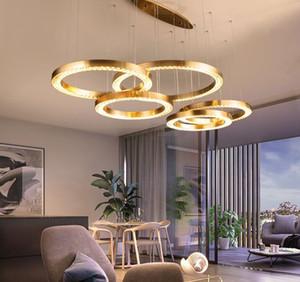 Современная светодиодная хрустальная люстра для гостиной роскошное матовое золотое кольцо Cristal лампа спальни столовая отделка светильника