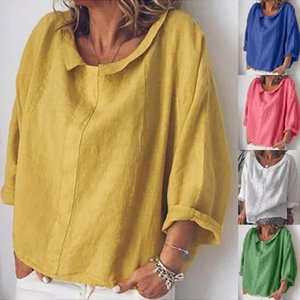 Loose Cotton and Linen Tee Shirt Femme Summer New Arrival Women's Casual Half Sleeve Solid T Shirts Tops Camisetas Mujer