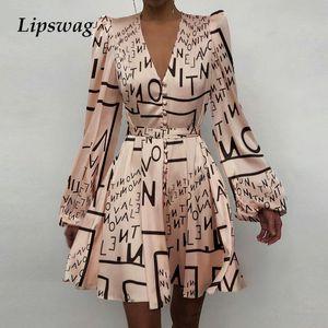 Сексуальные женщины V-образным вырезом шелкового сатинового платья женщин 2021 весна с длинным рукавом a-line мини-платье элегантное сплошное платье с длинным рукавом женщины Y0118