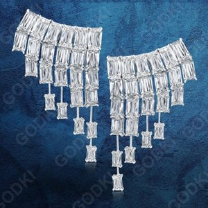 GODKI 32mm Luxury Rainning Curtain Drops Geometry Full Mirco Paved Microl Zirconia Naija Wedding Earring Fashion Jewelry
