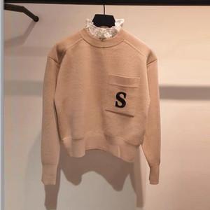 Женщины свитер осень и зима моды женщина S Письмо Вышивка Свитера Повседневная женская Щитовые Ruffled вязаный свитер Размер S-L