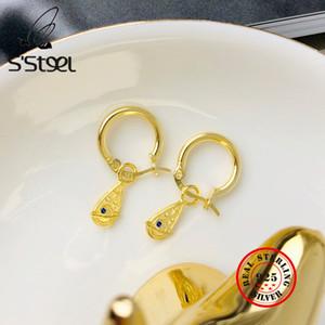S'STEEL Planet Circle Hoops Earring 925 Sterling Silver Hoop Earrings For Women Zircon Gold Earing Orecchini Argento 925 Jewelry