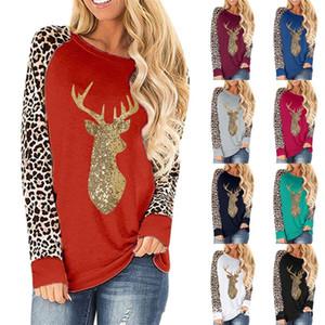 Más el tamaño de remiendo de las mujeres del leopardo del suéter ciervos de la Navidad con lentejuelas de cuello redondo Color de manga larga camiseta 2020 Otoño Invierno Ropa E92401