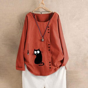 Newest Cat Fish Print Blouse For Womens Long Sleeve Cotton And Linen Kaftan Ladies Baggy Cat Print Shirt Tops Plus Size M