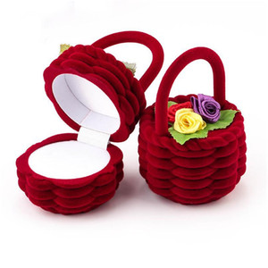 1 Piece Cute Flower Basket Velvet Wedding Engagement Ring Box Gift Box Holder For Earrings Necklace Display Jewe jllXsg