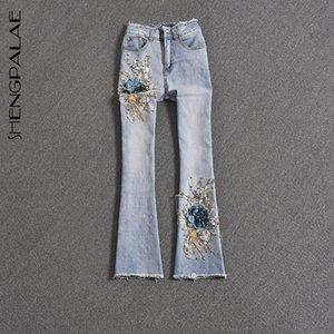 Shengpalae otoño de 2020 de las nuevas mujeres tridimensionales Jeans Flower Show finas de moda pantalones de cintura alta de Calle Vaquero 5a693