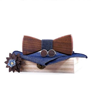 Sitonjwly Natural Wooden Bow Tie Handkerchief Cufflinks Brooches Set for Mens Wood Bowtie Suit Wedding Cravate Homme Accessories