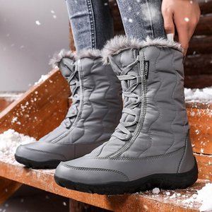 Women Boots 2020 Women's Warm Faux Fur Booties Mid-Calf Winter Snow Boots Waterproof Insulated Outdoor Warm Shoes for Woman