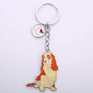 Cocker Spaniel pendant key chains for men women silver color metal alloy pet dog bag charm car keychain key ring holder keyring