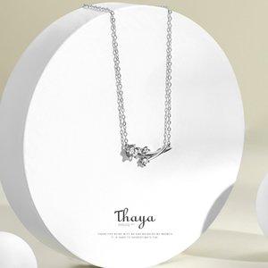Наборы ювелирных украшений Thaya Dandelion Thaya 100% 925 стерлингового серебра Zircon Белое кольцо Колье для женщин Элегантные Ювелирные Изделия F1219