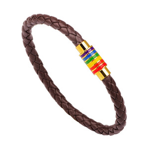 Leather Rainbow LGBT Sign Charm Wrap Bracelets For Women Men Gay Lesbian Magnetic Buckle Bangle Wristband Jewelry 92 p2