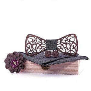 Sitonjwly Holz Fliege für Männer Handkerchief Holz Bowtie Manschettenknöpfe Brosche Krawatten für Frauen-Geschäft Hombre Herren-Accessoires