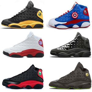 Hombres Mujeres Zapatos 13 13s DMP Black Cat History of Flight DMP Negro True Red Sports Grey Toe J13 Sneakers