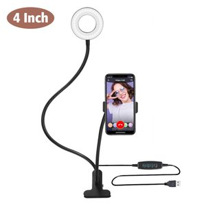 US Stock 4'' LED Camera Selfie Ring Light with Desktop Tripod Dimmable LED Ring Light For Phones