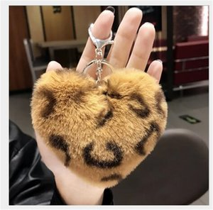 Fashion Lovely Bear Hairball Keychains For Girls Boy Fluffy Fake Animal Fur Ball Key Chain Charm Women Bag KeyRings Gifts