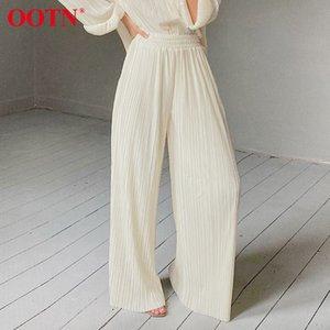 OOTN Khaki Pleated Wide Leg Pants Women Trousers Elegant Casual Palazzo Pants Elastic High Waist Ruched Oversized Pants Ladies 201022