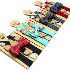 Bebek Bow Suspender Klip 15 Stiller 62 * 2.5cm Çocuklar Ayarlanabilir Çiçek Çizgili Kafes Suspenders Bow Tie Pantolon Askı L-OA6518