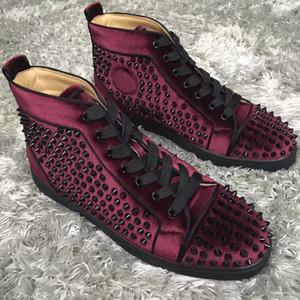 العلامات التجارية الكلاسيكية المسامير الرجال عالية أعلى حذاء أسفل الحمراء المسامير الكمال سكيت المشي زوجين في الهواء بالجملة