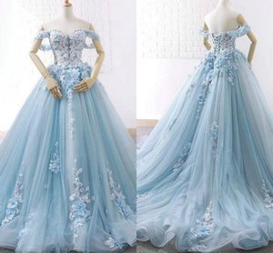 2021 Ivory Lace Baby Blue Tulle Quinceanera Dresses Off The Shoulder Hand Made Flowers Pleated lace-up Princess Prom Dress Sweet 15 Girls
