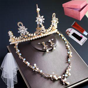 Nouveau Send Box Coiffe romantique Coiffe Couronne de luxe Collier Collier Mode Trois pièces Nœud bride Mariage Princesse Adulte Bijoux Adulte