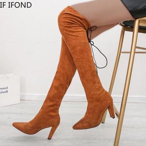 Se IFSD 2020 Vendita calda Stivali da donna Stivali da sole Stivali da ginocchio Sexy Slim slip-on flock tacchi alti tacchi invernali Plus Size 35-43