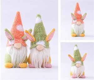 Easter Bunny Gnome Handmade Swedish Tomte Rabbit Plush Toys Doll Ornaments Holiday Home Party Decoration Kids Easter Gift
