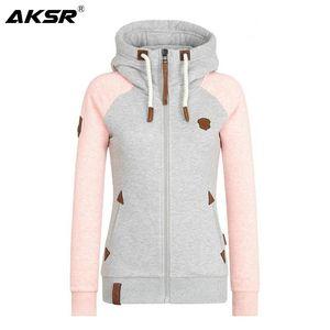 AKSR femmes sweat à capuche Zip-up personnalité lâche Mode Streetwear manches longues différentes tailles S-5XL Femme Manteau Casual