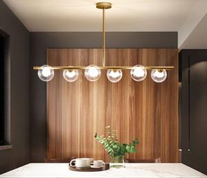 Минималистский люстры Длинные Современные светодиодные стеклянный шар Nordic Living Столовая Кухня Комната Золотой Черный бытовой Декоративные Gloss лампы