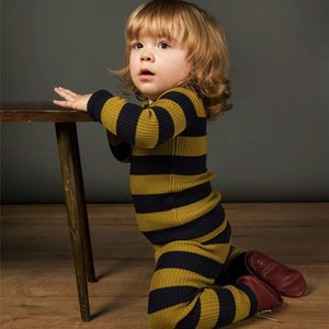Winterneumeumn Belling Pajama مجموعة لفتاة أطفال محبوك مجموعة الأسود مخطط منامة النوم مجموعة ملابس 201104