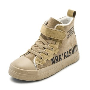 Casual Boys Boots Winter Plus Cotton Warm Solid Color Letters Scarpe per bambini 201130