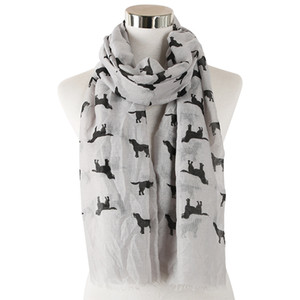 Fashion new scarves spring and summer high quality new cute dog animal print scarf women's scarf shawl