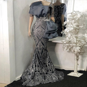 Gray Sequin Mermaid Evening Dress Short Sleeve Bow African Prom Dresses Floor Length Plus Size Formal Dress