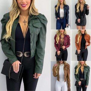 Beiläufiges Revers Ausschnitt Damen Jacken Solid Color Frühling und Herbst Langarm-6 Farben-Wahl-Damen Designer Mäntel