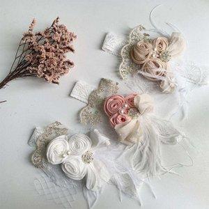 Satin Flower Feather Baby Headband White Lace Rhinestone Pearl Princess Girls Hair Band Vintage Fashion Newborn Accessories