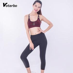 Voterbo Fitness Ropa de 2 piezas Set de yoga de 2 piezas Trajes de deportes de mujer Peso ligero Inserte de malla de malla transpirable Top Top altas Leggings1