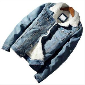 Luxusdesigner Männer Jacke und Mantel Trendy Warme Fleece Dicke Denim Jacke Winter Mode Herren Jean Outwear Männliche Cowboys Tops Plus Größe S-6XL