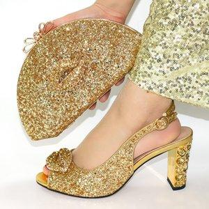 Нигерийский стиль нового прибытия Bling Bling обувь и сумки Набор для свадебного платья лето Роскошные туфли на каблуках и Matching сумка Set