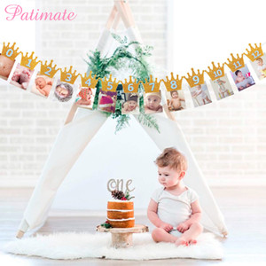1st Birthday Baby Banner Flag Monthly ONE Year Bunting Garland Baby Shower Boy Girl First Birthday Party Decorations