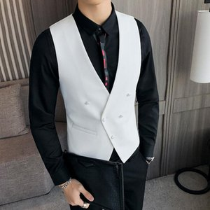 Men Vest Double Breasted White Red Black Suit Waistcoat Dress Slim Fit Deep V Collar Classic weste Evening Wedding gilet Male1