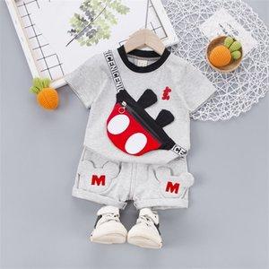 Fashion Children Kids Summer Roupas Infantil Hole T-shirt Lattice Shorts Algodão 2 Pçs / Conjuntos Roupas da Criança Bebê Tracksuits Set Y200829